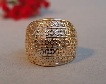 Wide Geometric Design Ring, 14K Yellow Gold Plated Ring