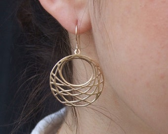 Big Round Dangle Earrings, 14K Yellow Gold Plated Earrings, Geometric Earrings