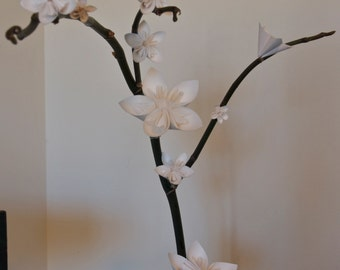 "Paper Flower ""Stand-In Blooms"" - Paper Orchid Replacement Blooms - Origami Flower Blossoms - Permanent Flowers - Potted Plant Accents -Decor"