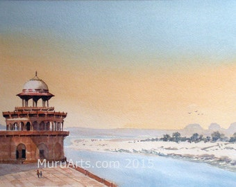 View from Agra Fort, Watercolor painting on paper, 50 cm x 33 cm