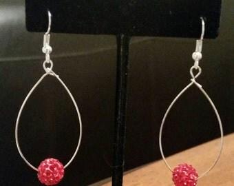 Red Rhinestone Bead Earrings