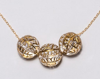 Beautiful Gold-filled chain with Three Gold Crystal Pendants
