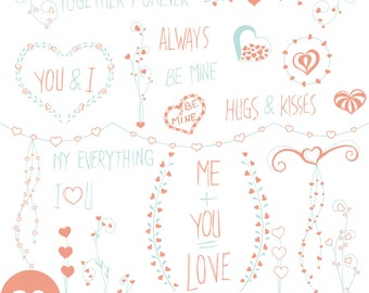 LOVE Clip Art, Hand drawn, Valentine's Day,clip art, Floral clipart, Laurel graphics, Wedding clip art, Love art,Doodle
