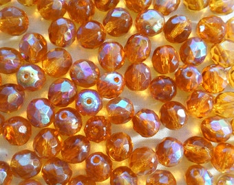 25 8mm Amber AB beads, faceted round firepolished glass beads C7725