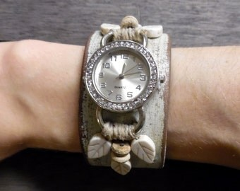 Women's Beige Brown Champagne Shimmer Ivory Shabby Chic Distressed Rhinestones Leaves Hemp Up-Cycled Leather Cuff Bracelet Watch