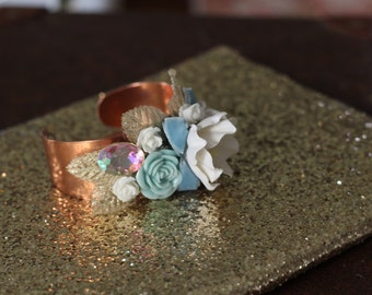 Vintage inspired copper floral cuff