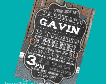 Cowboy Cowgirl YeeHaw Birthday Invitation Printable Invite