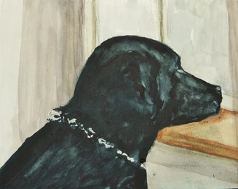BLACK LAB PAINTING: Original Watercolor Painting Black Lab Pet Portrait  Duck Hiunting, Maine Artist Dog Painting Small Painting