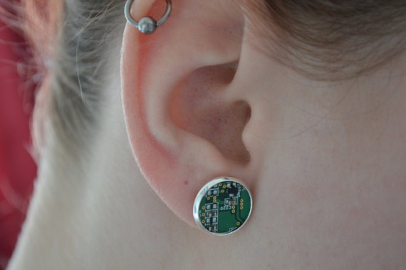 Circuit Board Stud Earrings