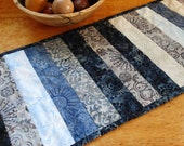 Handmade Table Topper Centerpiece, Batik Blue and White Quilted Table Runner, Modern Country, Handmade Long Table Topper, Pieced and Quilted