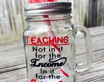 16oz Glass jar with handle-Teacher appreciation gift