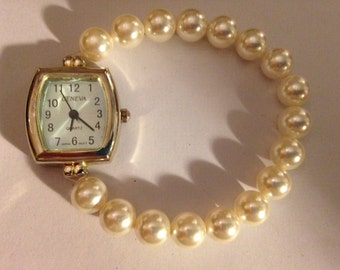 Swarovski pearls  beaded watch
