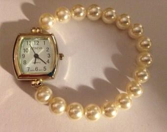 Swarovski pearls  beaded watch