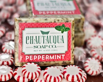 Peppermint Bar Soap - Made with Organic Ingredients and Essential Oils