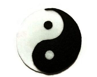 Yin Yang Symbol Iron On Patch - No Sew - Felt