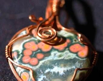OOAK Copper Wrapped Ocean Jasper