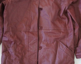 Vintage 1980's - Bagatelle leather jacket Women's size 12 - Dark Red Maroon Leather