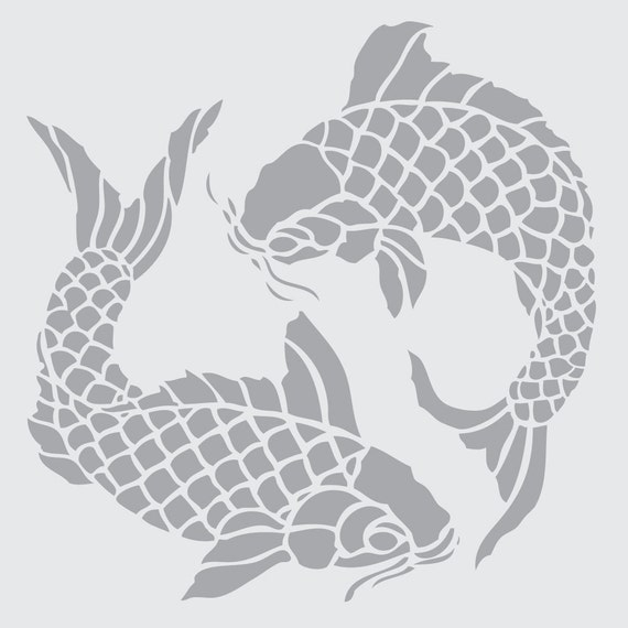 Koi on 7x10 laser cut stencil by pearldesignstudio on etsy for Koi fish stencil