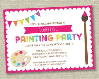 Painting party invitation, art party invitation, painting birthday party invitation, arts and crafts party, art birthday invitation