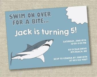 Shark birthday invitation, shark birthday party, shark invitation, ocean birthday, boy birthday invitation