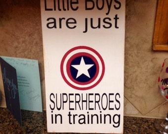 Superhero sign - little boys are just superheroes in disguise (training) - little boy sign - boys sign - sign for boys room - superman sign