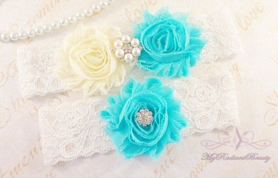 Blue Bridal Garter Set , Etsy