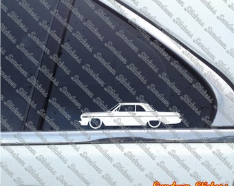 2X Low car outline stickers - for 1963 Chevrolet Impala SS coupe