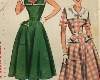 Simplicity 3284 vintage 1950's junior misses dress w/full skirt sewing pattern size 14 bust 32 Uncut factory folds
