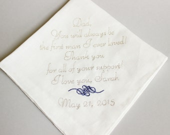 FATHER Of The BRIDE Handkerchief Hanky Hankie - You will always be - Wedding Gift for Father of the Bride
