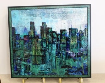 Abstract City Scape. Framed Abstract Urban Landscape, City Original In Turquoise & blues