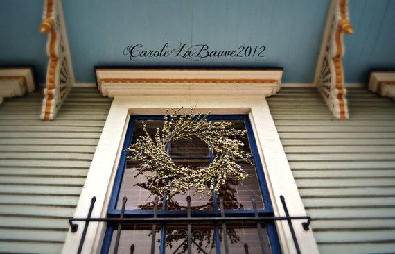 WINDOW TREATMENT ~ New Orleans Louisiana Photography ~ Fine Art Photography ~ New Orleans Street Scenes ~ Wreath in Window ~ Wrought Iron