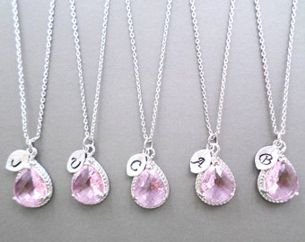 Set of 1-4, Pink, Initial, Necklace, Pink, Glass, Wedding, Bridesmaid, Pink, Jewelry, Set, Pink, Necklace, Set, Personalized, Initial