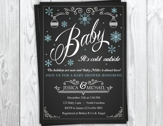 Winter Holiday Baby Shower Invitation, Christmas Baby Shower Party, Snowflake Baby Shower, Winter Baby Shower
