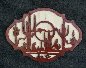 Scroll saw fretwork wood Southwest Desert Scene wall hanging