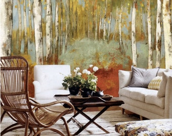 Autumn Forest Wallpaper Wall Decal Art Yellow Green Dreamy Woods Tree Wall  Mural Oil Painting Effect