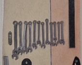 """Mixed media fiber art painting """"Tools"""""""