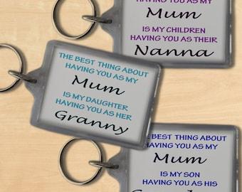 Keyring for Mum, Mothers Day Keyring, Gift for Mum - personalised for Grandma, Granny, Nana, Nanna & Nanny