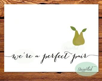 Perfect Pair Valentine Card - Printable, Instant download, perfect pear, love, valentine, I love you card, pear valentine, fun valentine