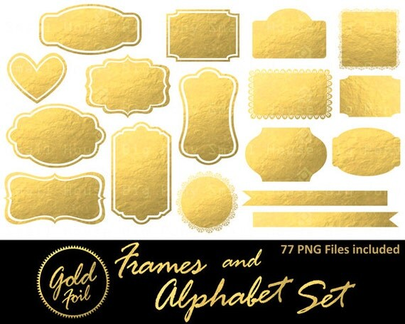 Gold Frames Clip Art. Gold Glitter Labels Clip Art. Mettalic Sparkle Frames and Borders. Pink and Mint Glitter Frames.
