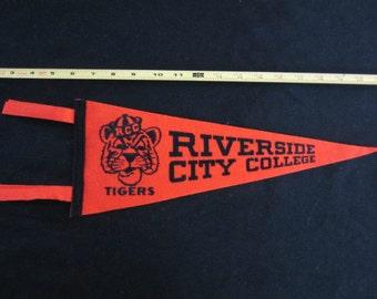 Vintage Felt Pennant -  Riverside City College Tigers