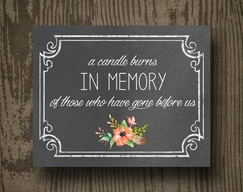 Floral In Memory Of Wedding Printable - Printable Wedding Sings - Wedding Decor - Floral Wedding - Wedding Sign - Floral Wedding Sign