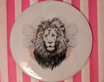 Lion / Flower Pocket Mirror