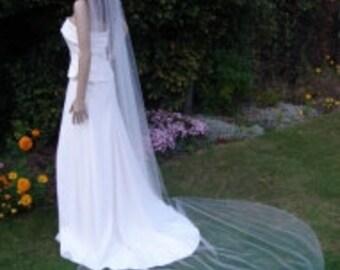 1 tier Cathedral length veil plain