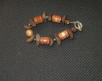 Bracelet-mixed wood beads with silver accents