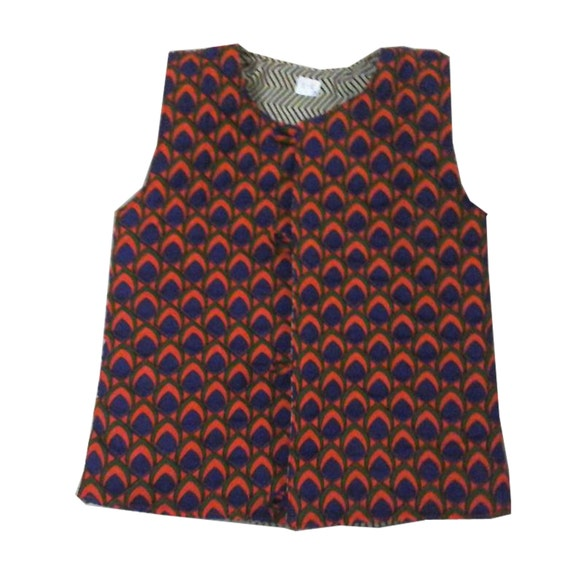 Sleeveless cotton quilted reversible jacket Vest (kids) - Unisex (Orange peacock print) childrens clothing, bohemian chic cotton
