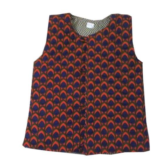 Sleeveless cotton quilted reversible jacket Vest (kids) - Unisex (Orange peacock print) childrens clothing, bohemian chic cotton