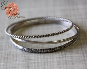 Sterling Silver Bangle Bracelet Trio, Bangles Set, Twisted,  Floral, Hammered,  Oxidized Silver Bracelet Set