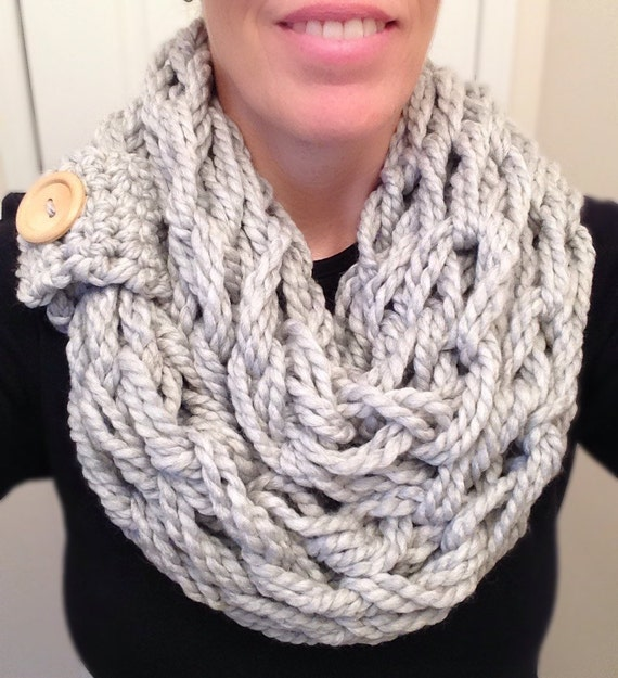 Loose Arm Knit Infinity Scarf with Button Cuff Detail