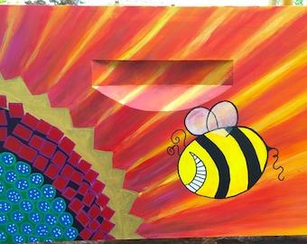 Sunflower Custom Painted Honey Bee Hive Box Beekeeping Equipment