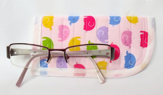 kids quilted spectacle holder, childs glasses case, eyeglasses case, quilted glasses protector, glasses holder, pink with elephants